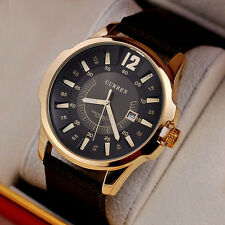 New Curren Men's Brown Leather Stainless Steel Gold Case Quartz Date Sport Watch
