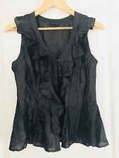 CUE BLOUSE WOMENS TOP PLEATED GREY VISCOSE BLEND PEPLUM SLEEVELESS SZ 10