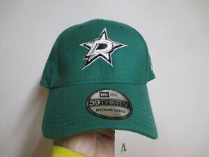 """DALLAS STARS """"NEW ERA 3930"""" FLEX FIT HAT (MED/LRG) GREEN W/ RAISED LOGO COOL HAT"""