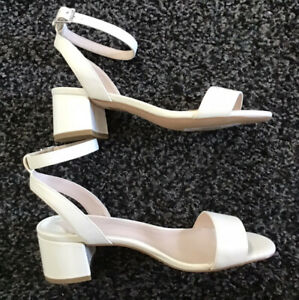 Faith White Ankle Strapped Sandals Low Heel Size UK 5 EUR 38 BNWOB