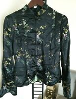 H&M womens cheongsam jacket floral chinoserie oriental silk blend BLACK US 10