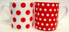 Rouge Pois & à pois Tasses Set de 2 Porcelaine Fine Balmoral rouge tasses Main