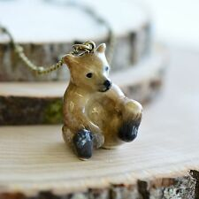 Antique Bronze Chain, Ceramic Animal Hand Painted Porcelain Bear Cub Necklace,