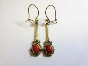 VINTAGE 9ct GOLD & CORAL DROP DANGLE EARRINGS!