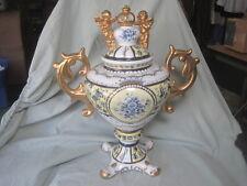 Antique 1800s VICTORIAN CHERUB Heavy Gold Ceramic Ern Ewer Vase SUPERB!