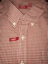 NEW IZOD Mens XXL Long Sleeve Red Gingham Button Down Shirt Slim Fit Casual