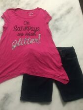 Girls Justice outfit Saturdays Glitter 16 top shirtCelebrity Pink shorts 5 (16)