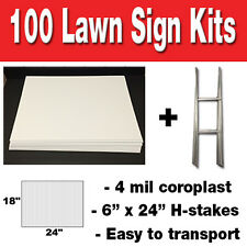 100 Pack Blank Yard Signs 18x24 with H-stakes for Garage sale Sign & Graduations