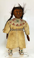 "c1880's-90's Plains / Sioux Doll w/ Wooden Face & Arms 11 1/2"" x 5"" Hide, beads"