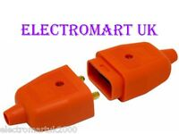 2 PIN ORANGE RUBBER LAWNMOWER STRIMMER GARDEN PLUG SOCKET CONNECTOR 10A AMP