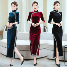 Vintage Women Velvet Cheongsam Qipao Long Shirt Dress 3/4 Sleeve Tunic Slim fit