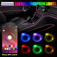 6in1 8m RGB LED Fiber Optic Car Interior Neon EL Strip Light Lamp Bluetooth APP