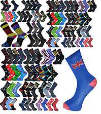 6 Pairs Mens Cotton Socks Assorted Colour Design Pattern Novelty Socks UK 6-11