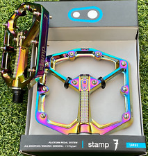 RARE DEAD STOCK NEW CRANKBROTHERS STAMP 7 LARGE OIL SLICK MTB FLAT PEDALS