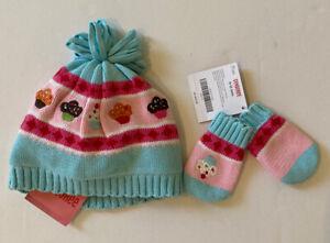 NWT Gymboree Cupcake Cutie 0-12 Months Aqua Fleece Lined Sweater Hat & Mittens