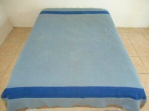 NEEDS CLEANING: Vintage EARLY'S OF WITNEY BLUE Wool 4-Point Blanket; No Label