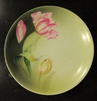 """RS Germany 6 1/2"""" Plate Green with Pink Roses"""