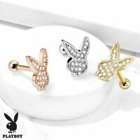 Ear Cartilage Micro CZ Paved Playboy Bunny Barbell Studs for Tragus 16ga