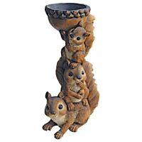 Three's A Crowd Stacked Design Toscano Exclusive Squirrel Birdbath Bird Feeder