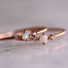 14k Rose Gold Natural Australian Opal Ring Solid Gem Crystal Simple Gift Women