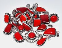 Wholesale !! Lot Mix 50Pcs. RED CORAL 925 Sterling Silver Plated Pendant Ring