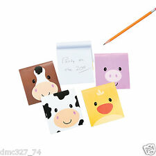 24 Western Everyday Party Favors Barnyard FARM ANIMALS Face Mini NOTEPADS