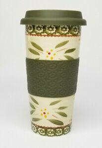 Temptations by Tara 16 oz Travel Car Mug Tumbler Coffee Old World Green 7 in