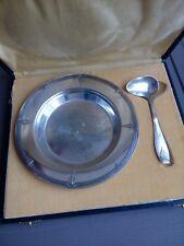 Ancienne assiette metal argente pour enfant avec cuillere art deco