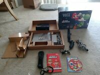 Nintendo Wii Console Black  With Box + New Super Mario Bros Tested & Works