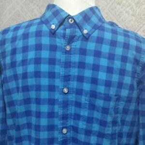 Lands End boys poplin blue check shirt size XL