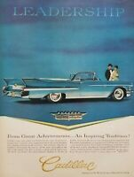 1958 Blue Cadillac Convertible Photo Leadership Advertising Print Ad