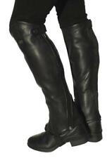 Rhinegold Elite Curved Zip Leather Gaiters/Half Chaps - Black - Large - F&F