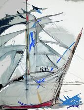 Tableau, peinture, contemporain, moderne,voilier, escale à Sète