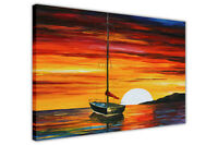 OIL PAINTING REPRINT ORANGE SUNSET SAILING BOAT CANVAS PICTURES WALL ART PRINTS