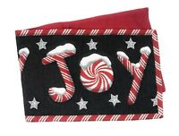 DaDa Bedding Peppermint Joy Christmas Table Runners Red Black Woven Tapestry