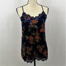 NWT Xhilaration Velvet Feel Cobalt Blue Floral Tank Camisole Top Lace Size M C7