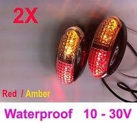 2X 12V 24V DC AMBER RED CLEARANCE LIGHTS SIDE MARKER LED FOR TRAILER TRUCK BUS