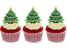 12 STAND UP CHRISTMAS TREE EDIBLE CUPCAKE CUP CAKE TOPPERS DECORATION IMAGES