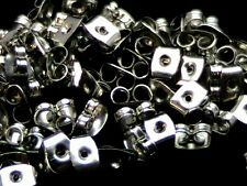 100 (50 Pairs) 6mm Silver Tone Butterfly Earring Backs Jewellery Findings i171