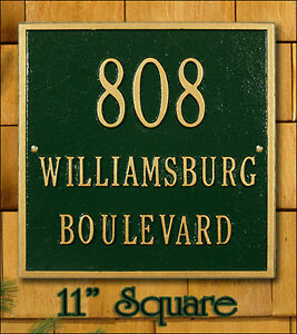 "Whitehall 11"" Square Address Plaque Sign - 17 Color Choices Rust Free 2 Mounts"