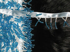 """10  yards 1 1/4"""" width clear and blue beads fringe trim on light blue ribbon"""