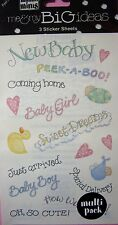NEW BABY SAYINGS Just Arrived Boy Girl ME & MY BIG IDEAS MAMBI MINIS Stickers