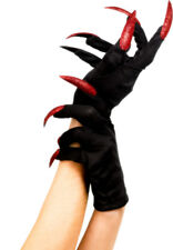 Ladies Halloween Gloves Black Red Devil Witch Fancy Dress Accessory Witches