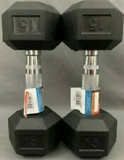 Weider 15lb Dumbbells Pair Set Of 2 - 30lbs Total Rubber Coated Hex Brand New