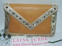 ELAINE TURNER ~ Bella ~ Leather Clutch Champagne w/ Studs Envelope Clutch NWT