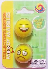 """GLASS MOODY MARBLE PACK """"LOL & MAD"""" TWO 1"""" SHOOTERS BY MEGA MARBLES"""