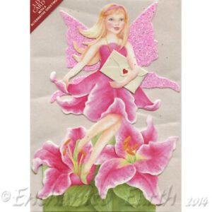 New 3d card - Flower Fairy Greeting Card with Glitter / Fairy Dust Wings