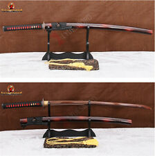 Full Tang Handmade Samurai Sword Katana Red Folded Steel Sharp Blade Cut Tree