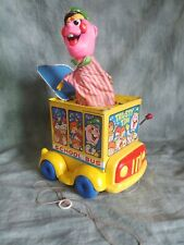 RARE MATTEL Vintage 1969 TRUSTY TIM Jack In The Music Box Pull Toy Bus Driver ¤