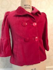 Mac & Jac Rose Pink Velvet Double Breasted Jacket NEVER WORN Size S